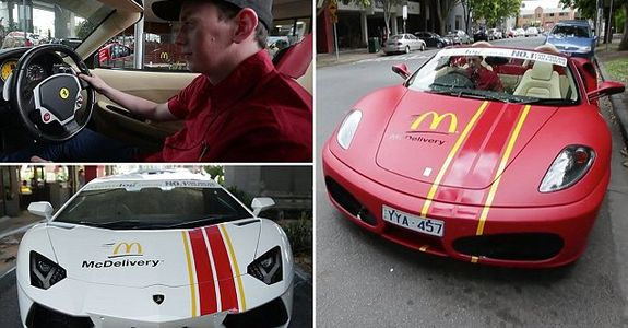 McDonald's use Lamborghini and Ferrari to deliver meals. Now THAT'S fast food!